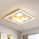 Square and Circles Bedroom Flushmount Post-Modern Acrylic Gold LED Ceiling Light with Dangling Crystal Flower