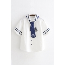 Chic Girls Anchor Boat Embroidered Printed Striped Tied Button Down Sailor Collar Short Sleeve Relaxed Fit Shirt Top