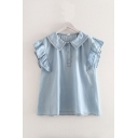 Cool Girls Button Detail Ruffle Trim Polo Collar Sleeveless Loose Fit Denim Shirt