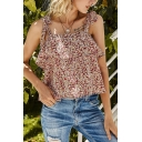 Pretty Girls Ditsy Floral Print Bow Tied Shoulder Ruffled Relaxed Cami Top in Red