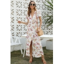 Fashion Womens Allover Flower Print Short Sleeve Surplice Neck Maxi Wrap Dress
