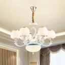 Jar Shade Bedroom Suspension Light White Frosted Glass 6 Heads European Style Chandelier Lamp