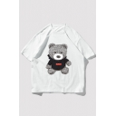 Chic Mens Bear Pattern Letter Eastlevel Short Sleeve Round Neck Relaxed Fitted T-Shirt