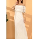 Special Occasion Lace Patched Off the Shoulder Bow Tied Waist Maxi A-line Dress in White