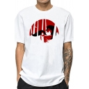 White Casual Mens Plant Animal Hand Printed Short Sleeve Round Neck Regular Fit T-Shirt