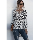 Womens Trendy Dalmatian Print Long Sleeve Lace-up V-neck Relaxed Fit T Shirt in White