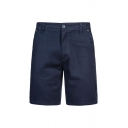 Leisure Mens Plain Zip Fastening Button Knee Length Regular Fitted Shorts with Pockets