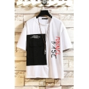 Fancy Mens Colorblock Letter Tunnel Base Printed Flap Pocket Short Sleeve Round Neck Fitted T-Shirt