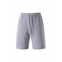 Fashionable Solid Color Drawstring Waist Knee Length Regular Fit Shorts for Men