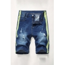 Stylish Men's Color Block Zip-fly Pockets Distressed Longline Regular Fitted Denim Shorts with Washing Effect