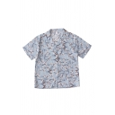Chic Girls Floral Printed Button Up Lapel Collar Short Sleeve Relaxed Fit Tunic Shirt
