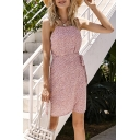 Gorgeous Womens Ditsy Floral Print Spaghetti Straps Bow Tied Waist Short Wrap Cami Dress in Pink