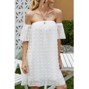 Womens Trendy Applique Short Sleeve Off the Shoulder Midi Swing Dress in White