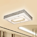 Crystal Rectangle Ceiling Mounted Fixture Modernism LED Flushmount Lamp in Chrome for Hall
