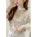 Sexy Womens See-through Lace Velvet Patched Ruffled Long Sleeve Mock Neck Keyhole Plain Regular Blouse