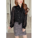 Chic Womens Chiffon All over Star Print Glitter Fuzzy Long Sleeve Bow Tied Neck Loose Fit Shirt
