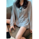 Basic Solid Color Long Sleeve Drawstring Relaxed Fit Thin Hoodie for Girls