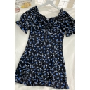Stylish Womens Ditsy Floral Printed Lace Up Ruffle Trim Crew Neck Short Puff Sleeve Short Fitted A Line Dress in Navy