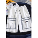 Cool Mens Shorts Color Block Striped Pattern Drawstring Waist Straight Fit Knee Length Lounge Shorts with Flap Pockets