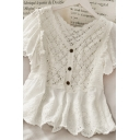 Vintage Girls Solid Color Cut Out Button Crochet Lace Ruffle Trim V Neck Short Frill Sleeve Relaxed Fit Shirt