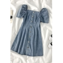 Cool Womens Button Down Pleated Square Neck Short Puff Sleeve Short Denim Dress in Blue