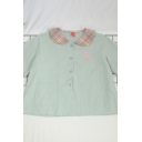 Preppy Girls Letter Peach Embroidery Print Pockets Button Down Plaid Peter Pan Collar Short Sleeve Regular Fit Graphic Shirt
