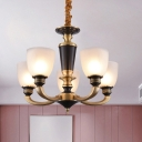 Cup Shape Frosted Glass Ceiling Chandelier Countryside 3/5 Heads Bedroom Pendulum Light in Brass and Black