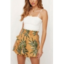 Popular Womens Allover Leaf Print Elastic Waist Ruffled Relaxed Fit Shorts in Yellow