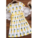 Cute Girls Summer Pineapple Printed Pleated Ruched Drawstring Crew Neck Short Sleeve Short A Line Dress