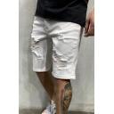 Dressy Mens Shorts Light Wash Ripped Pocket Zipper Mid Rise Regular Fitted Jean Shorts