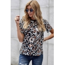 Stylish Womens Leopard Print Short Sleeve Crew Neck Relaxed Fit T Shirt