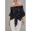 Fancy Womens Polka Dot Pattern Bell Sleeve Off the Shoulder Tied Front Loose T-shirt
