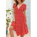 Glamorous Chiffon Ditsy Floral Printed Bow Tied Waist Midi Wrap Dress for Ladies