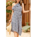 Summer Womens Allover Flower Print One Shoulder Bow Tied Waist Ruffled Irregular Hem Mid A-line Dress