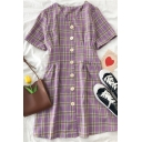 Elegant Ladies Plaid Pleated Button Down V Neck Short Sleeve Midi Fitted A Line Dress