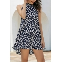 Boutique Womens Daisy Floral All over Pattern Sleeveless Mock Neck Short A-line Dress in Navy