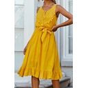 Leisure Plain Linen and Cotton Sleeveless Hollow out Panel Fringe Bow Tied Waist Ruffled Mid Pleated A-line Tank Dress