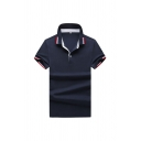 Unique Polo Shirt Striped Print Button Detail Spread Collar Regular Fitted Short Sleeve Polo Shirt for Men