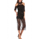 Ladies Amazing See-through Mesh Sequins Short Sleeve Cold Shoulder Slit Back Mid Sheath Dress