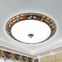 LED Dome Flush Mount Fixture Vintage Brown Finish Cream Glass Flushmount Light in White/Warm Light, 13