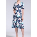 Casual All over Floral Print Short Sleeve V-neck Midi A-line Dress for Ladies