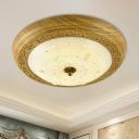 Veined Glass Yellow-Brown Flush Light Domed 14