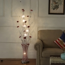 LED Aluminum Floor Light Art Deco Red and Silver Florets and Vase Drawing Room Floor Standing Lamp