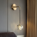 Faceted Crystal Gold Sconce Light Ball Shaped 1-Head Minimalist Wall Hanging Light for Bedroom