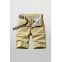 Cozy Mens Shorts Patterned Zip Fly Button Detail Knee-length Straight Fit Chino Shorts with Pockets