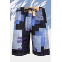 Vintage Mens 3D Relax Shorts Colorblock Drawstring Waist Regular Fitted Relax Shorts