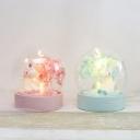 Transparent Glass Ball Mini Night Light Cartoon Battery LED Table Lighting with Pink/Blue Unicorn Inside