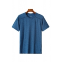 Sports Mens Quick Dry Stripe Printed Short Sleeve Crew Neck Relaxed Fit T Shirt