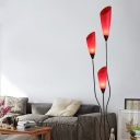 Tulips-Shape Standing Light Modernism Acrylic 3-Bulb Red Floor Lamp with Branch Design
