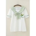 Trendy Girls Japanese Letter Avocado Embroidery Short Sleeve Bow Tied Sailor Collar Striped Loose T-shirt